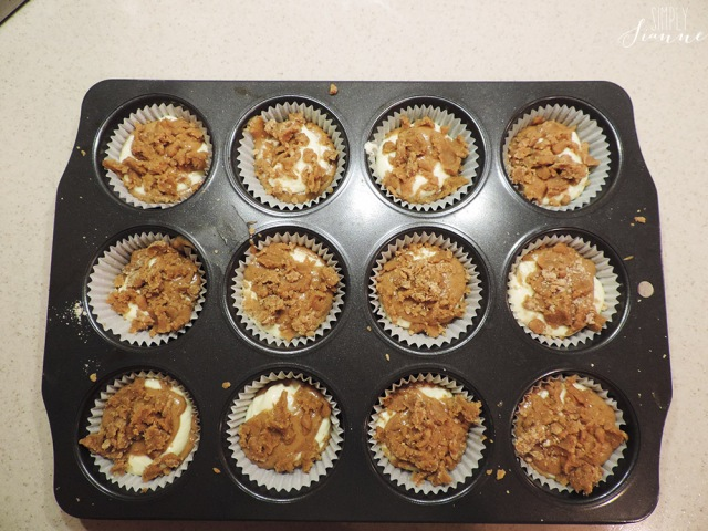 muffin pan with topping