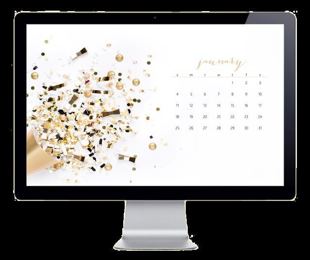 January Desktop Wallpaper Mockup